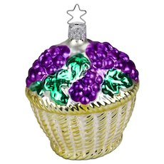 Glass Christmas Ornament Purple Grape Bunches In Basket Inge - Glas Germany