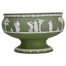 Wedgwood Jasper-ware Sage Green Footed Bowl moulded applied white details
