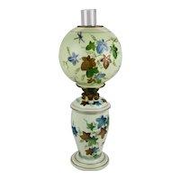 Bristol Custard Colored Glass Oil Lamp Globe Shade Hand Painted Dragonflies Ivy Motif