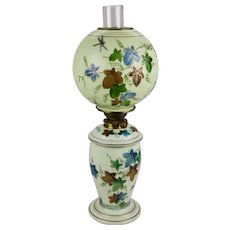 Bristol Custard Colored Glass Oil Lamp Globe Shade Hand Painted Dragonflies Ivy Motif