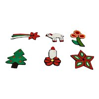 Christmas Ornaments Hand Crafted Set Of Six Stars Sheep Candle Tree Flower