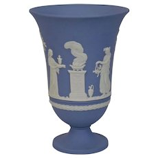 Wedgwood Jasper-ware Light Blue Footed Vase large moulded applied white details