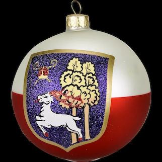 Elk Coat Of Arms Christmas Ornament Ball Hand Painted Original Box