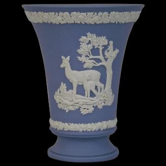Wedgwood Jasper-ware Light Blue Footed Vase medium size, moulded applied white details