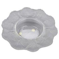Lalique Crystal France Small Bowl Honfleur Pattern Geranium Leaf Motif