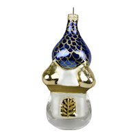 Glass Christmas Ornament Russian Style Church With Onion Dome Blue Gold Details