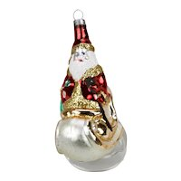 Christmas Ornament Santa On Sleigh Silvered Glass Interior Hand Colored Details