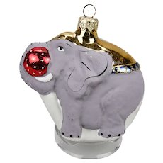 Glass Christmas Ornament Elephant With Red Ball Gold Blanket