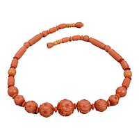 Beaded Necklace Moulded Celluloid Faux Coral Colored Floral Motif 17 Inches Long