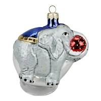 Glass Christmas Ornament Elephant With Red Ball Blue Blanket