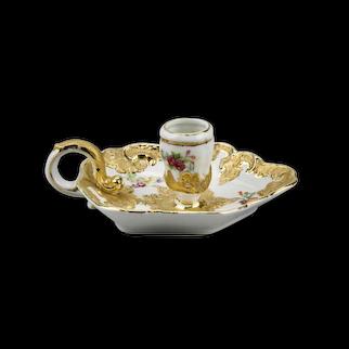 Dresden Style Porcelain Chamber Candlestick Floral Motif Gilt Details