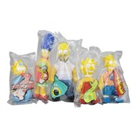 The Simpsons Family Complete Set Of Dolls Burger King c.1990 Never Opened
