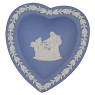 Wedgwood Jasper-ware Light Blue Heart Dish moulded applied white details