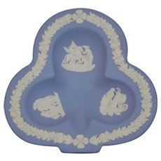 Wedgwood Jasper-ware Light Blue Club Clover Dish with moulded applied white details