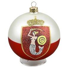 "Warsaw ""Warszawa"" Poland Coat Of Arms Christmas Ornament Ball Hand Painted Original Box"