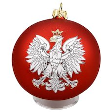 Crowned Eagle Poland Coat Of Arms Christmas Ornament Ball Hand Painted Original Box