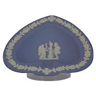Wedgwood Jasper-ware Light Blue Spade Dish moulded applied white details