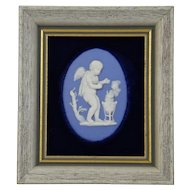 Jasper-ware Light Blue Framed Plaque with moulded applied white details