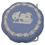 Wedgwood Jasper-ware Light Blue Round Scalloped Covered Box