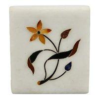 Pietra Dura Parchin Kari Floral Motif Plaque Tile Hard-Stone Mosaic Inlay India