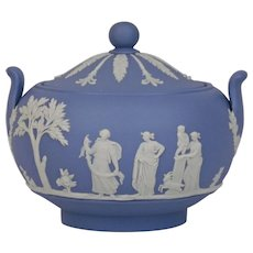Wedgwood Jasper-ware Light Blue Sugar Bowl with Cover and moulded applied white details