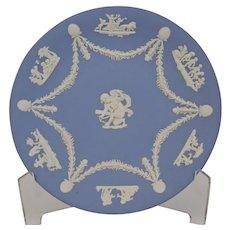 Wedgwood Jasper-ware Light Blue Plate white Putti, Garlands, shells