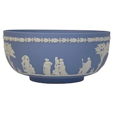 Wedgwood Jasper-ware Light Blue Bowl moulded applied white details