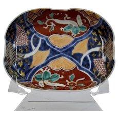 Japanese Imari Porcelain Oblong Footed Dish Bowl