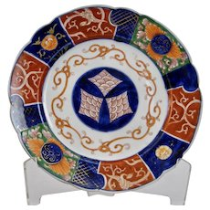 Japanese Imari Porcelain Plate with Scalloped Rim