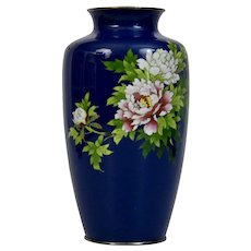 Silver Wire Blue Cloisonné Vase Japanese 20th Century