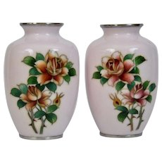 Silver Wire Pink Cloisonné Vases Japanese 20th Century Pair