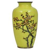 Silver Wire Cloisonné Vase Apple Blossoms Japanese 20th Century
