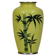 Silver Wire Cloisonné Vase Japanese 20th Century signed Ando