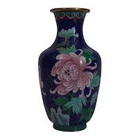 Chinese Cloisonné Enamel Vase Vintage 20th Century