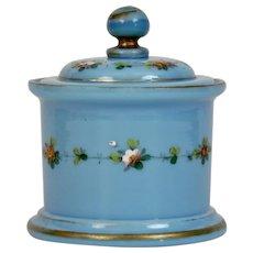 Blue Opaline Glass Covered Dresser Jar Floral Enamel