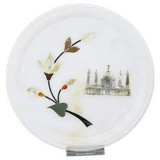Pietra Dura Parchin Kari Floral Taj Mahal Motif Plate Tray Hard-Stone Mosaic Inlay India
