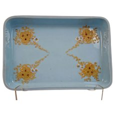 Blue Opaline Glass Dresser Tray Enameled Jeweled