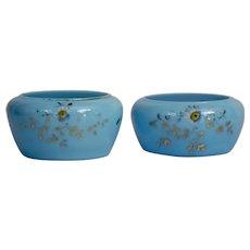 Blue Opaline Glass Dresser Jars Pair