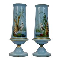 Blue Opaline Glass Vases with Crane or Heron Pair