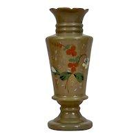 Bristol Glass Fireglow Clam Broth Vase Enameled Floral Motif Gilding