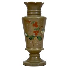 Bristol Glass Fireglow Clam Broth Vase Enameled Floral Motif Gilding