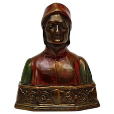Bronze Bookend Bust of Dante Pompeian Bronze Company