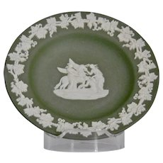 Wedgwood Jasper-ware Sage Green Round Dish moulded applied white details
