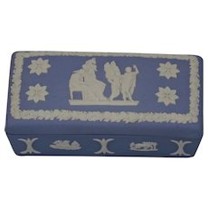 Wedgwood Jasper-ware Light Blue Covered Box applied white details