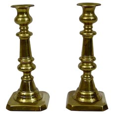 English Brass Candlesticks 19th Century Push Ups in place Pair