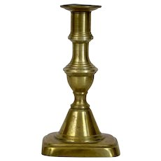 English Brass Single Candlestick 19th Century