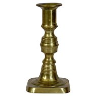 English Brass Single Candlestick 19th Century Push Up in place