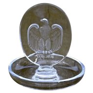 Lalique Glass Pin Dish American Bicentennial Eagle 1776-1976