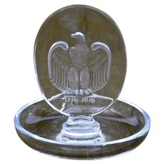 Lalique Glass Pin Dish American Bicentennial Eagle 1776-1976