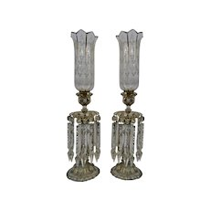 Baccarat Fine Crystal Hurricane Shaded Candlesticks Prisms Enameled Gilded